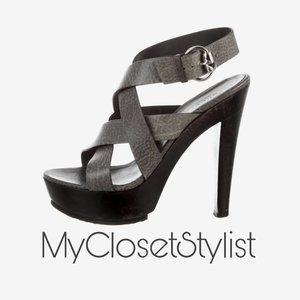 GUCCI Platform High Heels Strappy Sandals 42.5 1/2